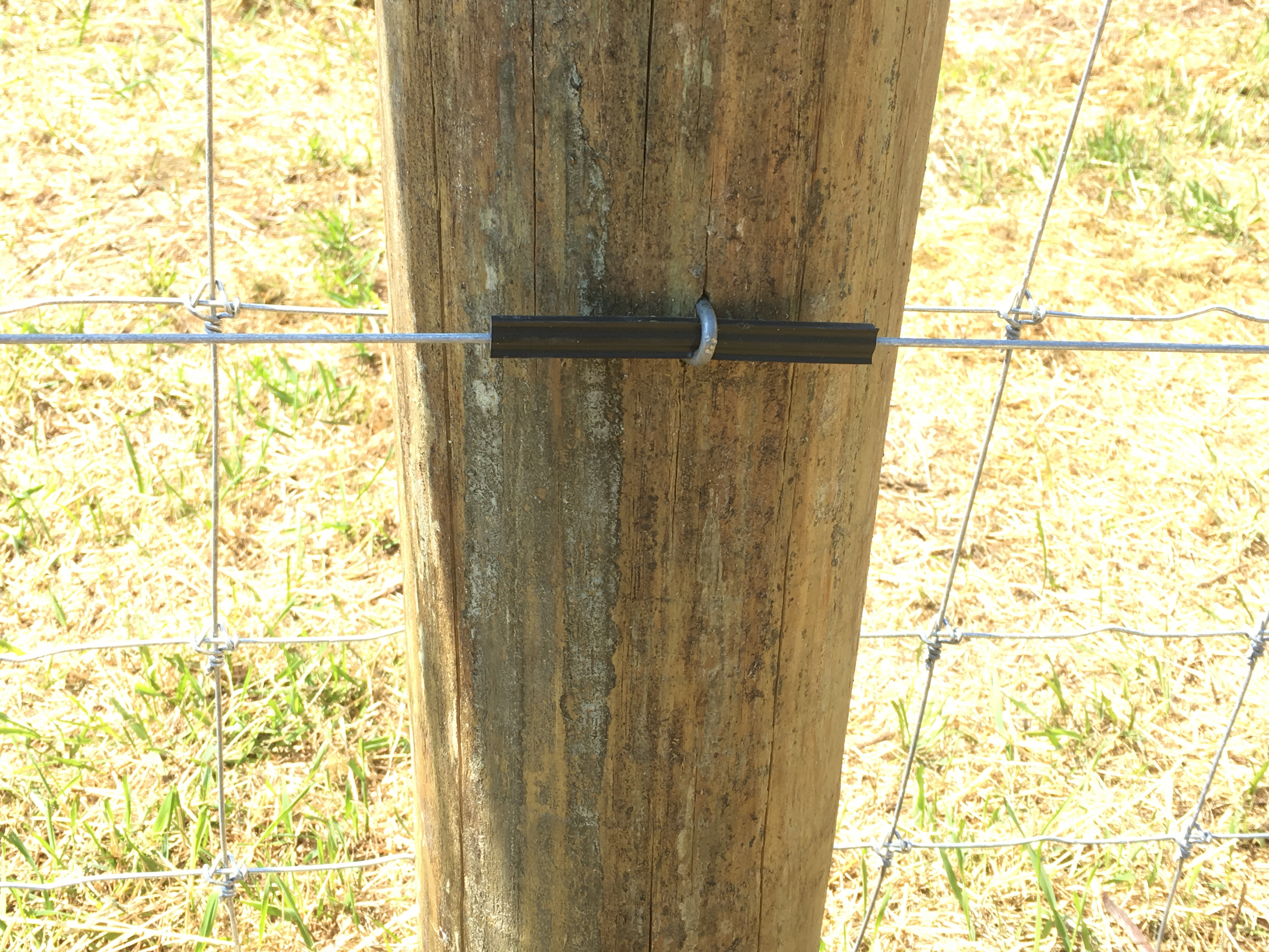 High Tensile Electric wire attached to post with rubber insulator.